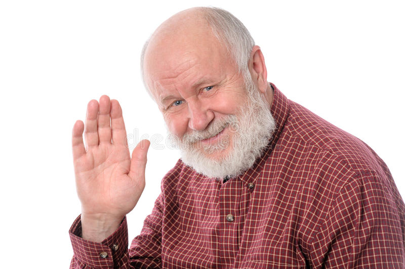 Senior man shows wave gesture, isolated on white stock photography