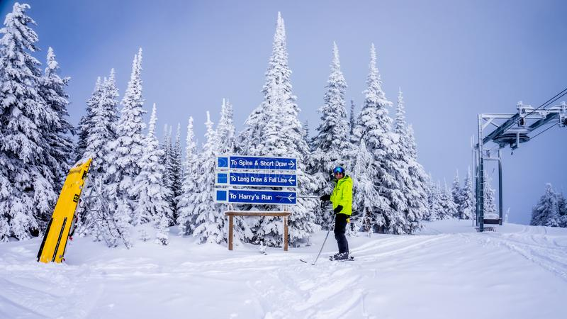 Senior man skier skiing in the West Bowl high alpine ski area at Sun Peaks royalty free stock photos
