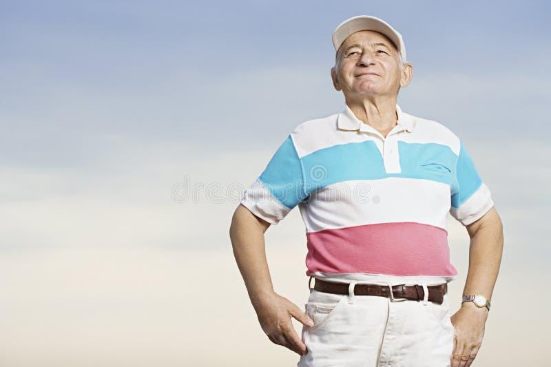 Senior man smiling royalty free stock photos