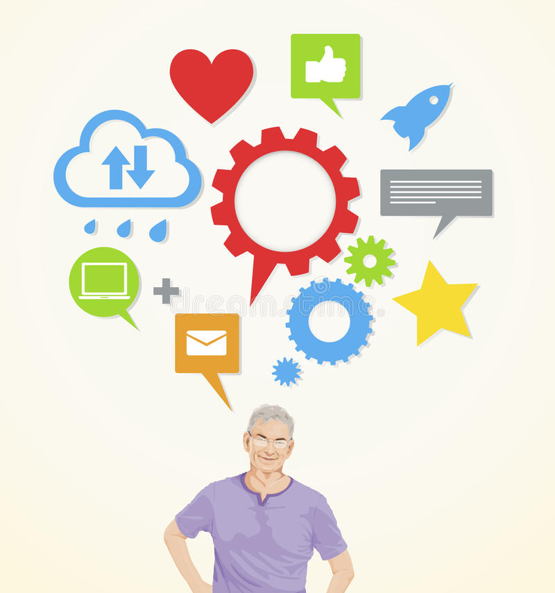 A senior man with social networking ideas vector illustration