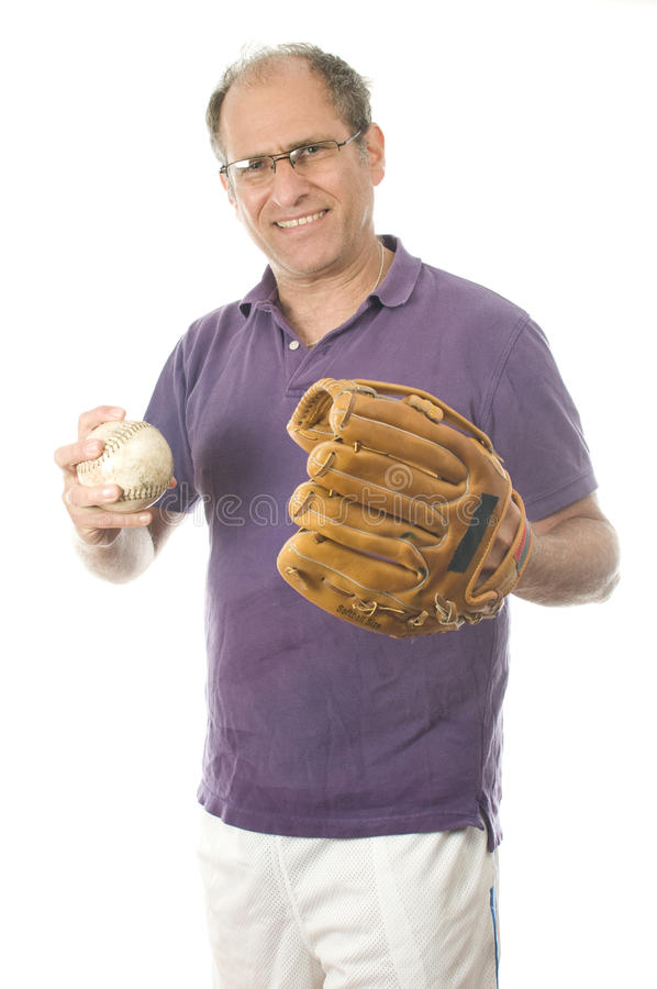 Senior man softball baseball glove stock photos