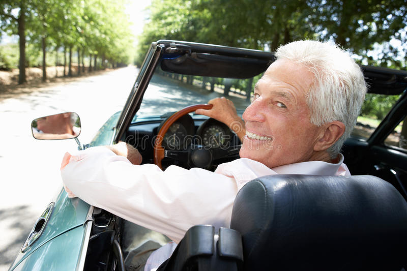 Download Senior man in sports car stock image. Image of cabriolet - 21028173