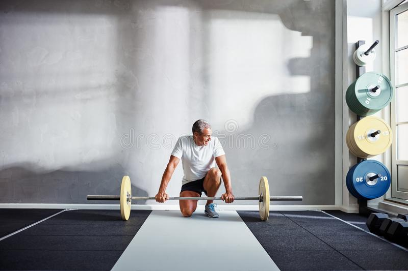 Fit senior man lifting weights alone in a gym. Senior man in sportswear kneeling kneeling in front of barbells while doing a workout in a health club stock photography