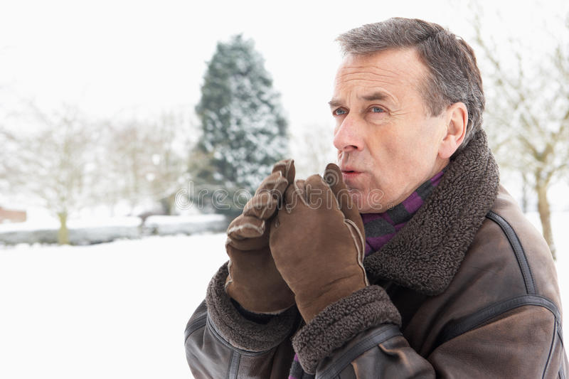 Download Senior Man Standing Outside In Snowy Landscape Stock Image - Image: 12988457