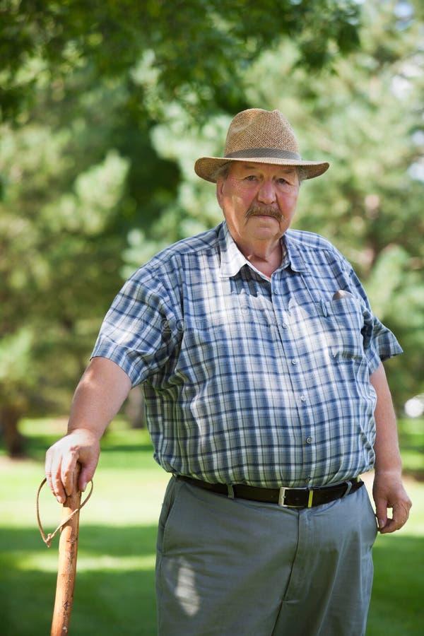 Senior man standing in park stock photo