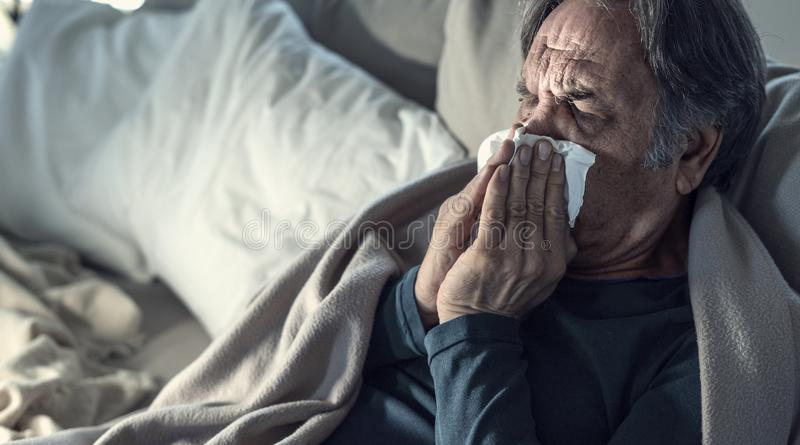 Senior man suffering from cold. Senior man suffering from  cold royalty free stock images