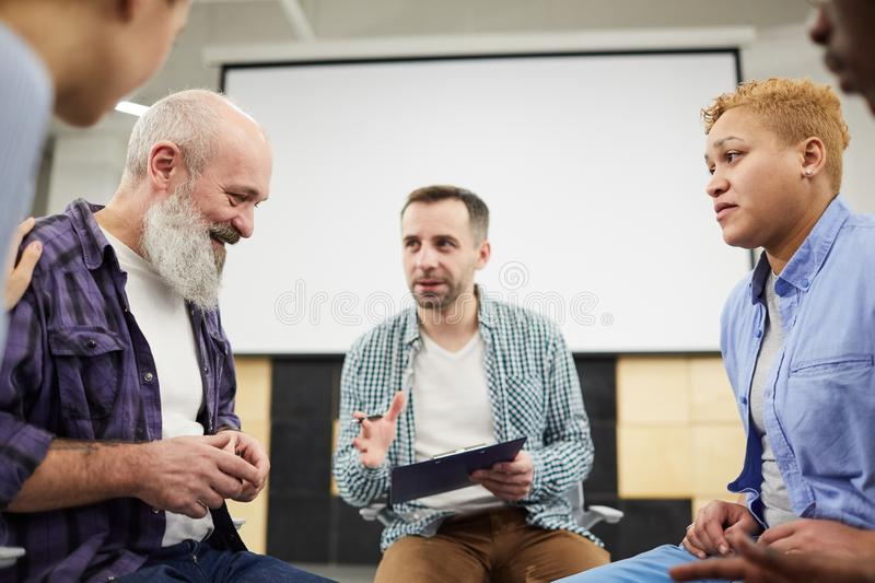 Senior Man in Support Group royalty free stock photography