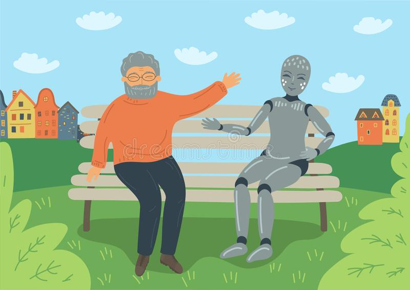 Senior man speak with robot on the bench outdoors. royalty free illustration