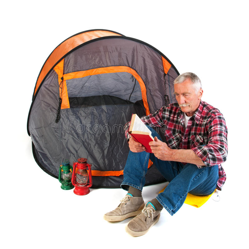 Download Senior man by tent stock image. Image of mustache, equipment - 32873765