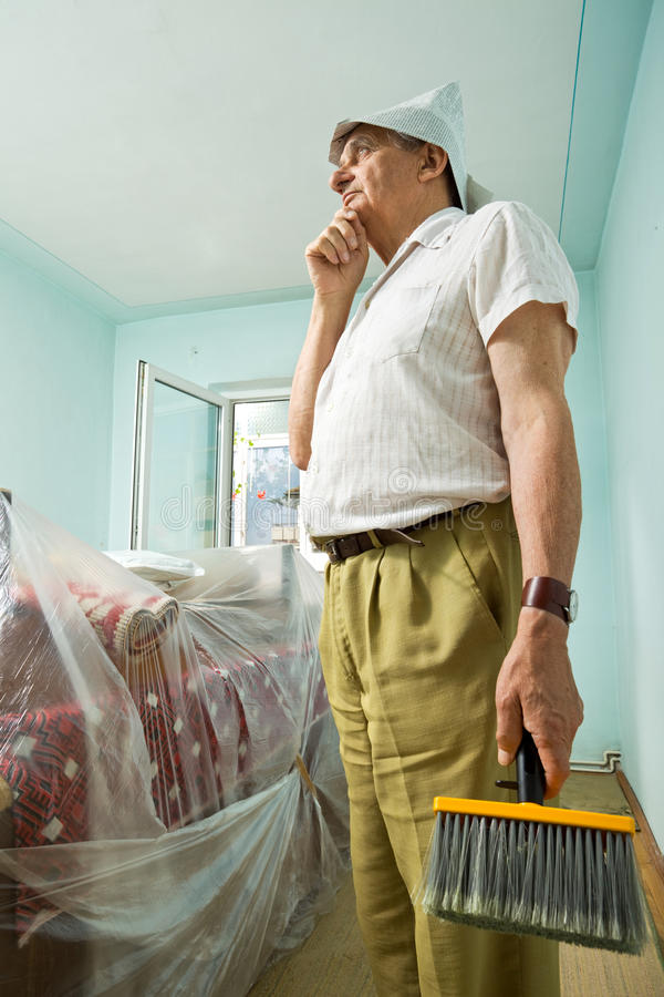 Download Senior Man Thinking About Redecorating Stock Image - Image: 15149507