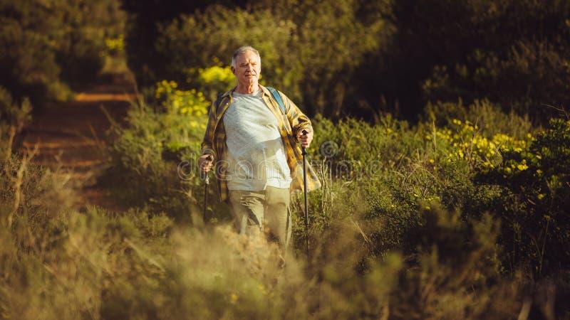 Senior man on a trekking trip stock photography