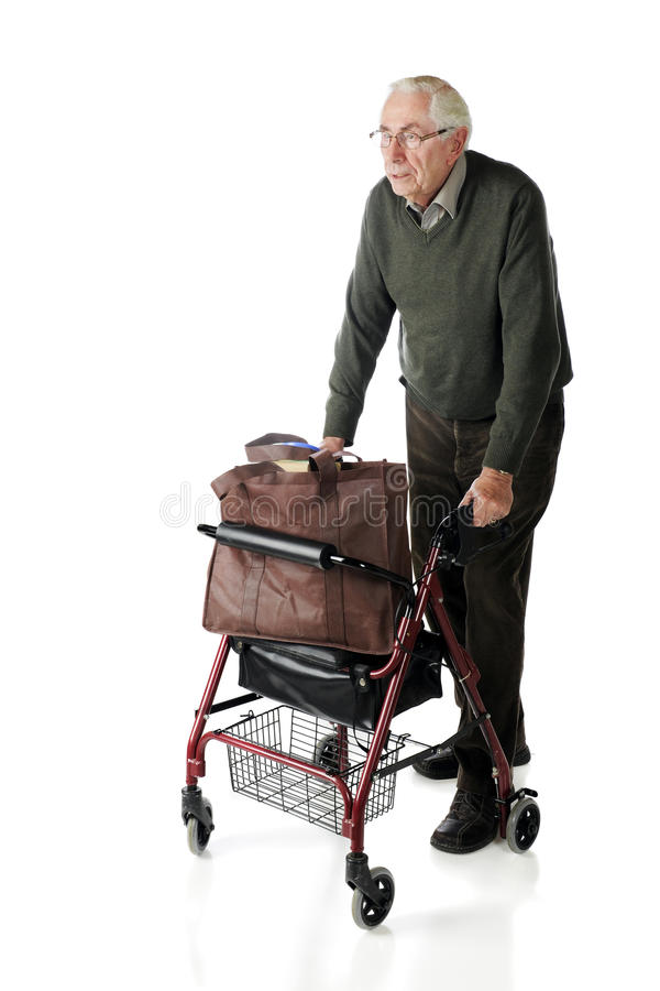 Senior Man with Walker royalty free stock photo