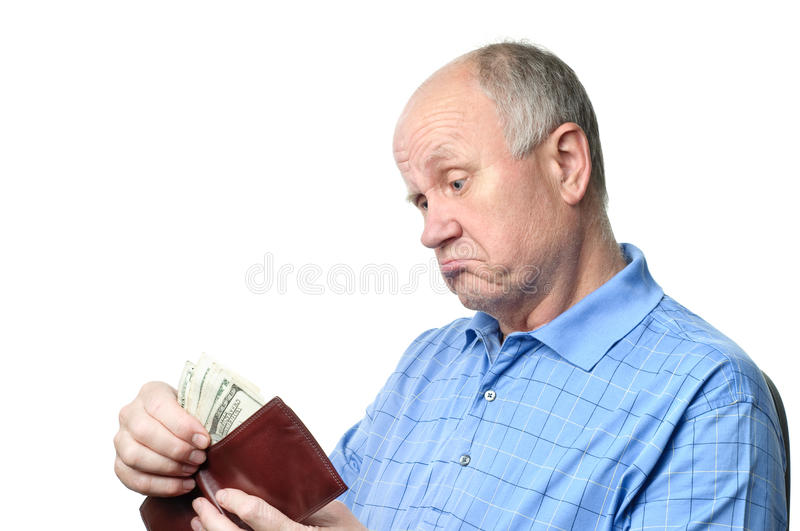 Senior man with wallet stock images