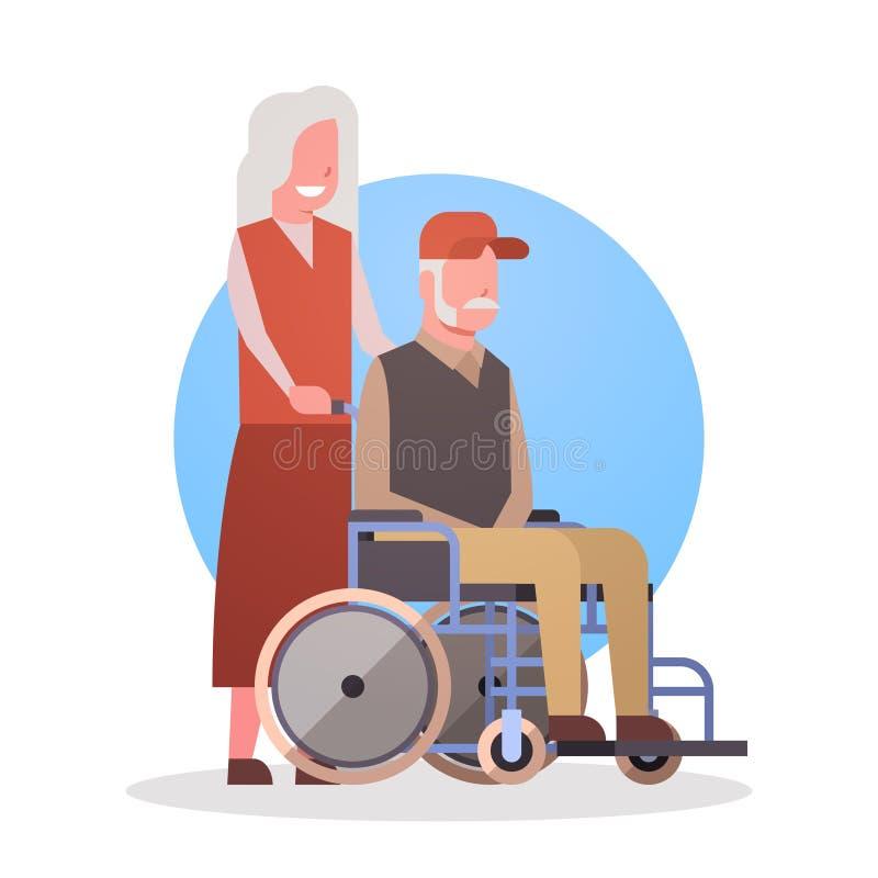 Senior Man On Wheel Chair And Woman Couple Grandmother And Grandfathr Gray Hair Icon stock illustration