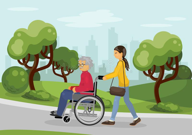 Senior man in wheelchair with careful woman stock illustration