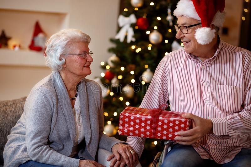 Senior man and woman with Christmas gift royalty free stock photo