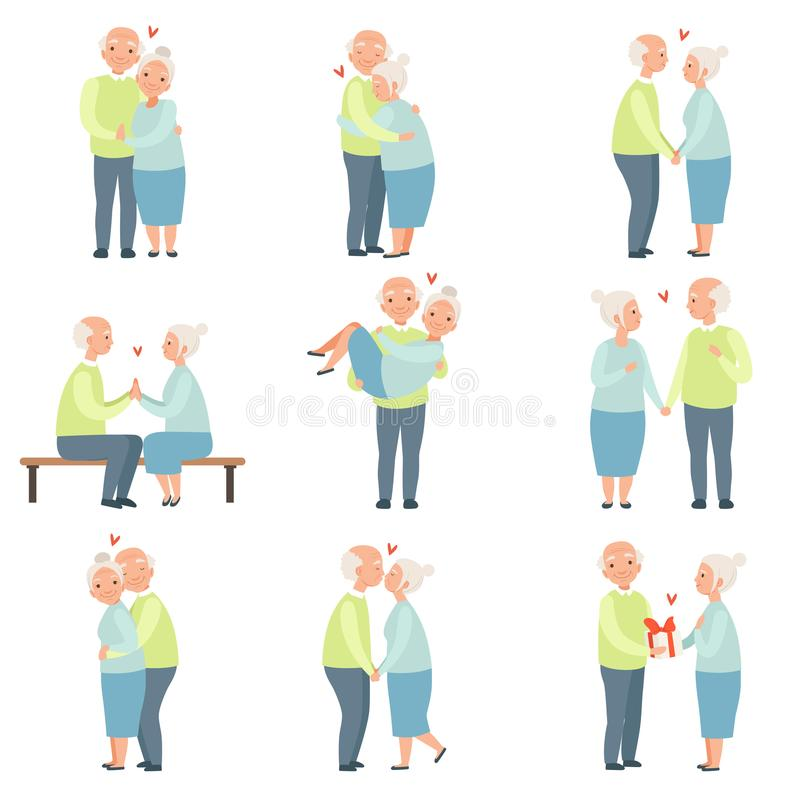 Senior man and woman having a good time together set, elderly romantic couple in love vector Illustrations on a white. Senior man and woman having a good time vector illustration