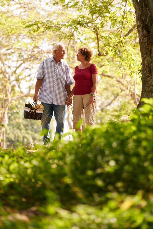 Senior Man Woman Old Couple Walking With Picnic Basket. Old couple, elderly men and women in park. Active retired seniors holding hands and walking in park with royalty free stock photos