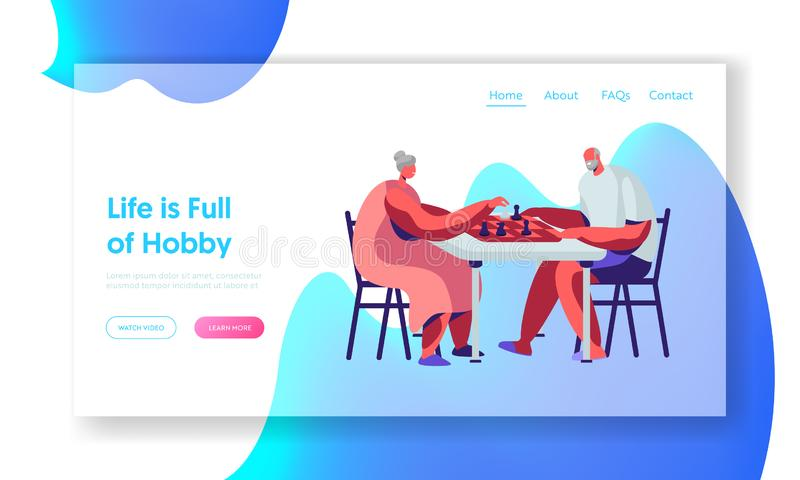 Senior Man and Woman Playing Chess Hobby. Couple of Pensioners Relax Spending Time at Intellectual Game, Retired People Leisure. Website Landing Page, Web Page stock illustration