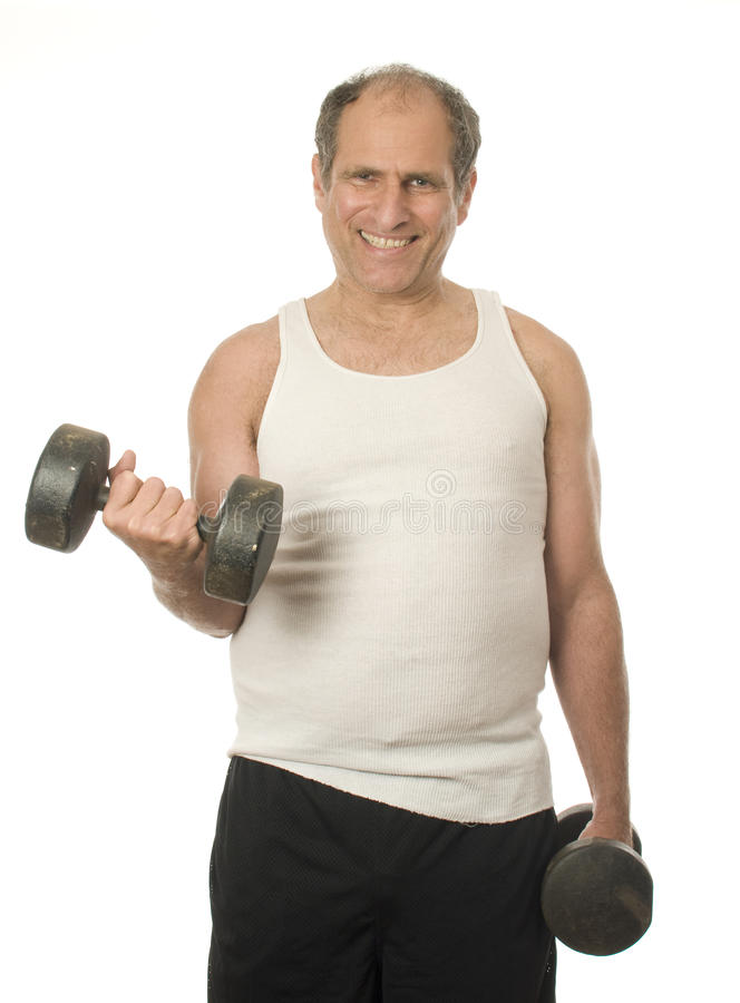 Senior man working out dumbbell weights stock photos