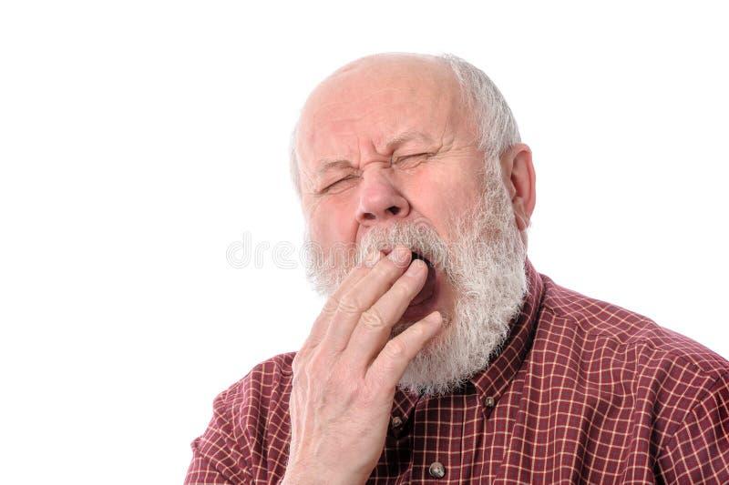 Senior man yawning, isolated on white. Handsome bald and bearded senior man yawning while covering mouth with hand, isolated on white background stock image