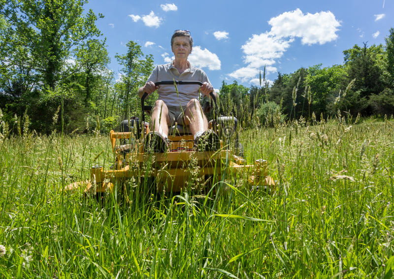 Senior man on zero turn lawnmower in meadow. Senior retired male cutting very deep grass in a meadow or field after leaving it to grow for far too long before royalty free stock images