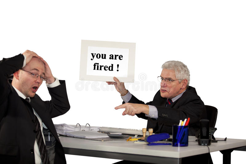 Senior manager firing employee royalty free stock photo