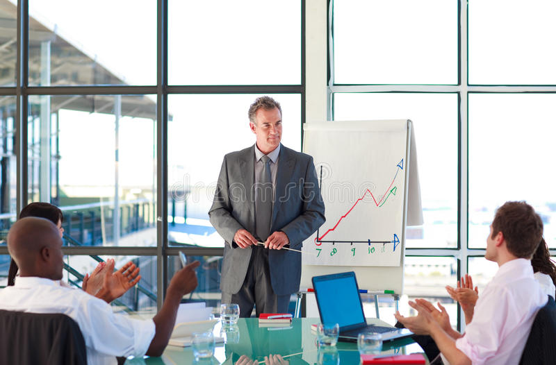 Senior manager in a presentation royalty free stock photos