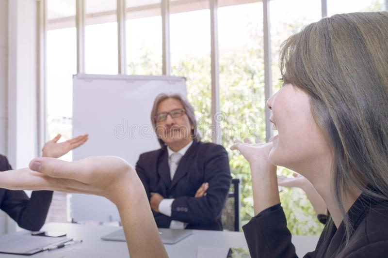 Senior managers thinking and meeting with business teamwork stock photography