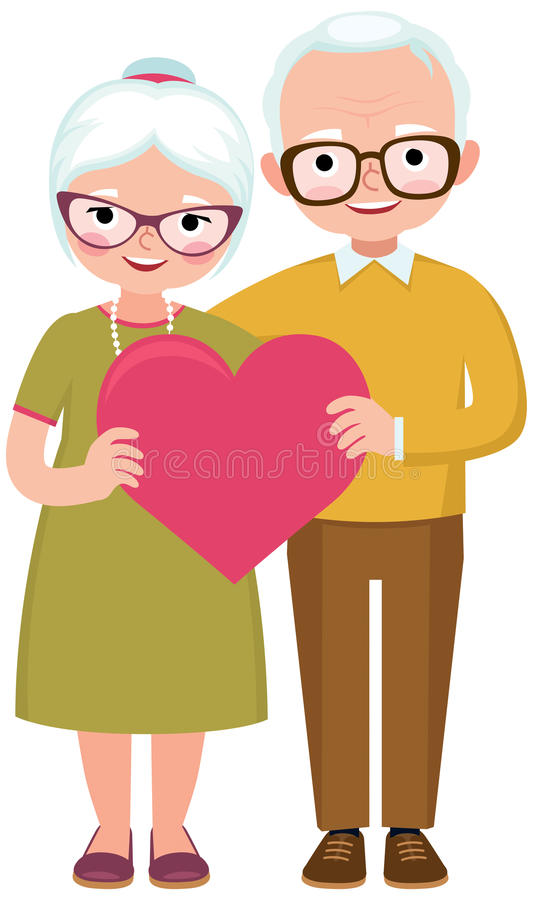 Senior married couple of lovers in full length hold the symbol o. F love heart cartoon vector illustration royalty free illustration