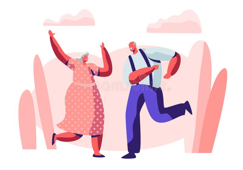 Senior Married Couple Sparetime with Dancing, Elderly People Active Lifestyle, Old Man and Woman in Loving or Friendly Relations. Spend Time Together, Extreme royalty free illustration