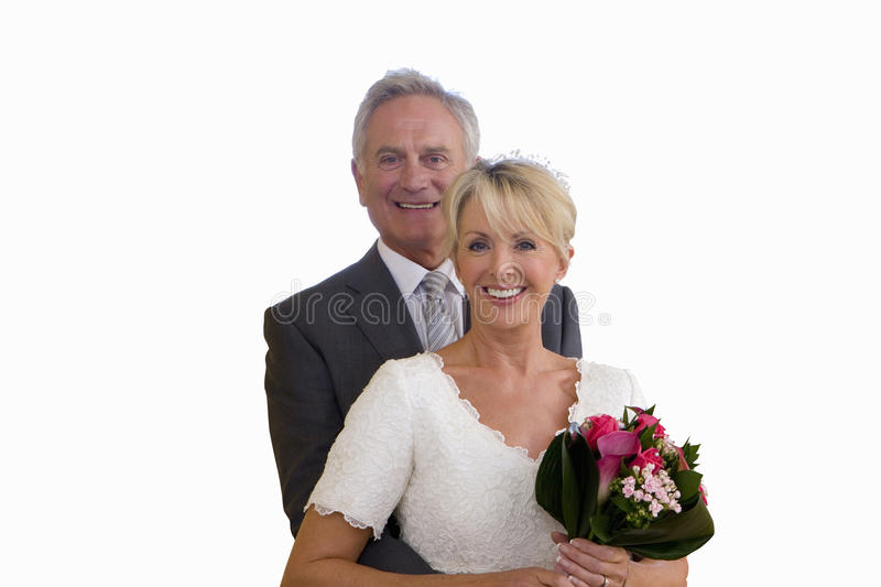Senior married couple on wedding day, portrait, cut out.  royalty free stock photos