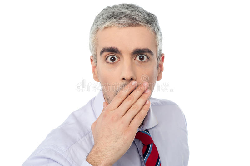 Download Senior Mature Man Closing Mouth With Hand Stock Image - Image of aged, expressive: 38710689