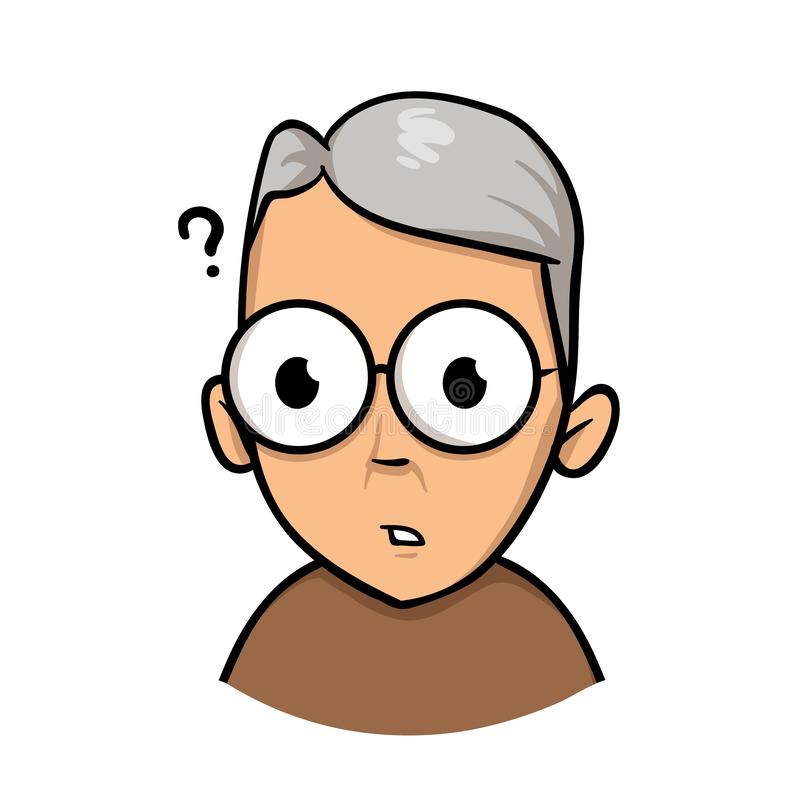 Senior mature man having trouble because of vision problems. Flat design icon. Flat vector illustration. Isolated on. Senior mature man having trouble because of stock illustration