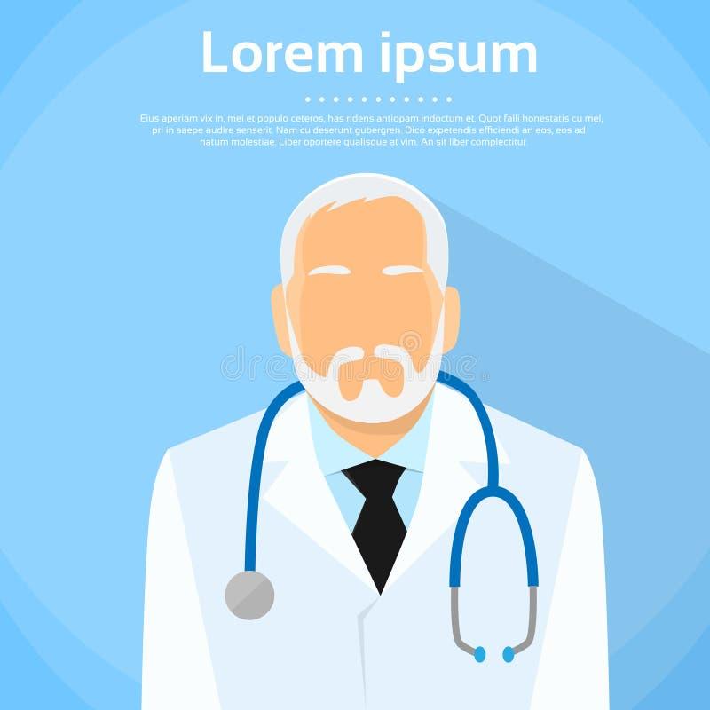 Senior Medical Doctor Profile Icon Male Portrait vector illustration