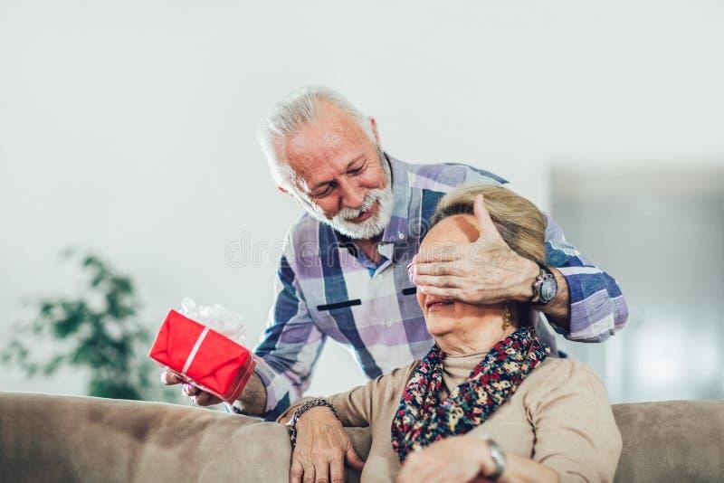 Senior man giving a present to his woman. Senior men giving a present to his women at home royalty free stock photo