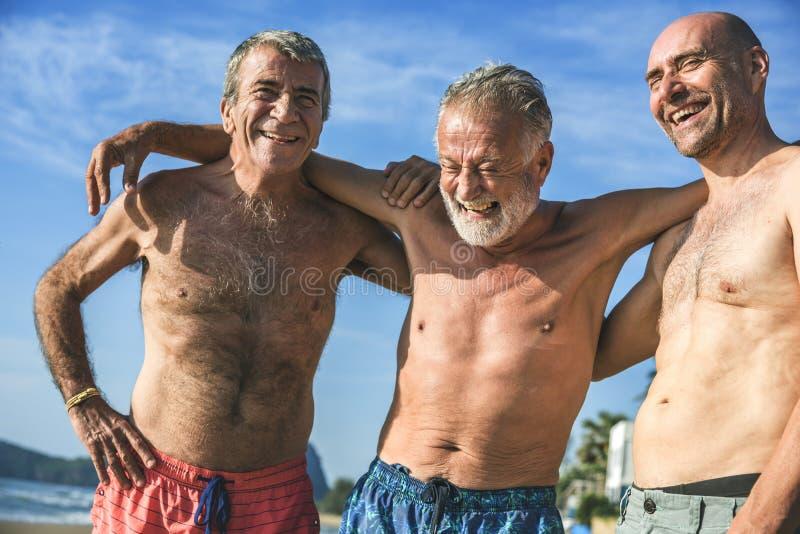 Senior men having fun on the beach stock image