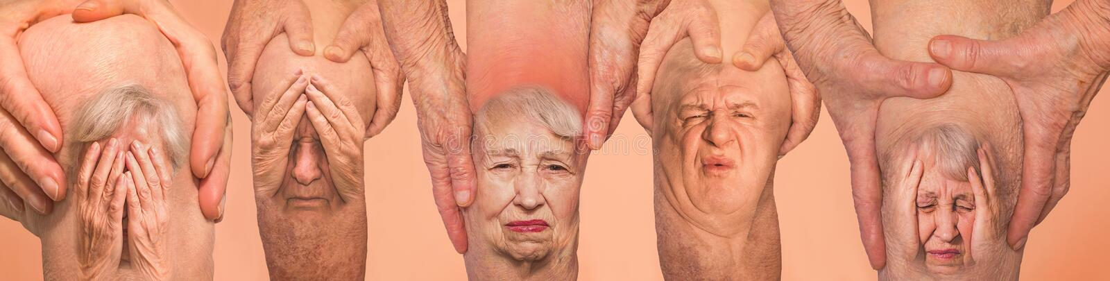 Senior men holding the knee with pain. Collage. Concept of abstract pain and despair. Senior men and women holding the knee with pain. Collage. Concept of stock images