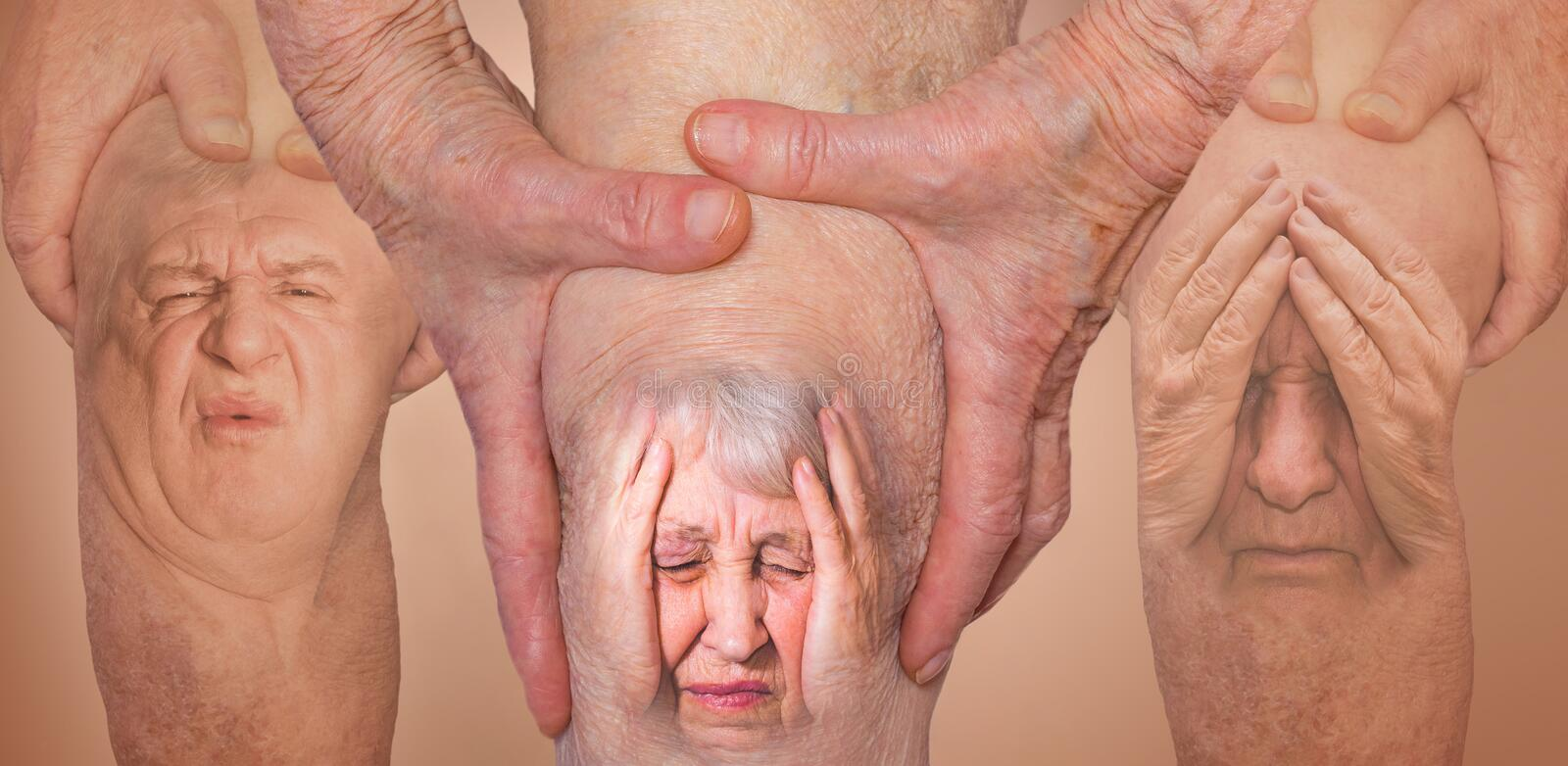 Senior men holding the knee with pain. Collage. Concept of abstract pain and despair. Senior men and women holding the knee with pain. Collage. Concept of stock image