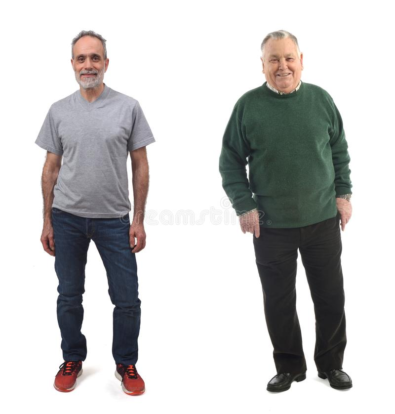Senior man and middle aged man on white stock photos