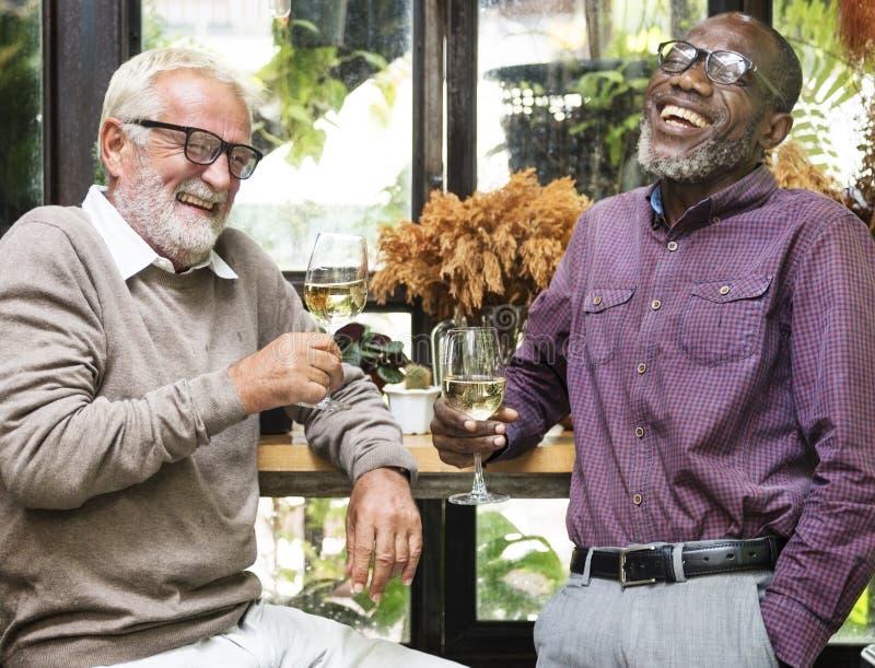 Senior Men Relax Lifestyle Dining Concept. Senior Men Relax Lifestyle Dining stock images