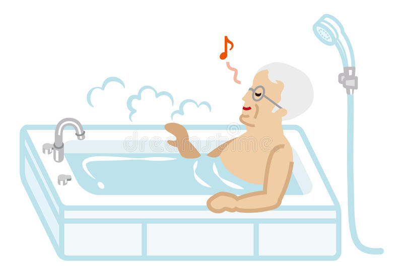 Senior Men taking a bath vector illustration