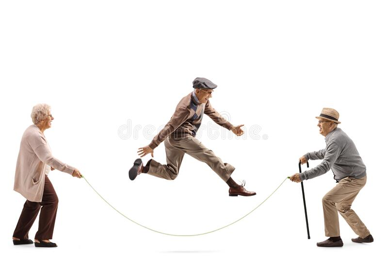 Senior man and woman holding a rope and another senior skipping stock photography