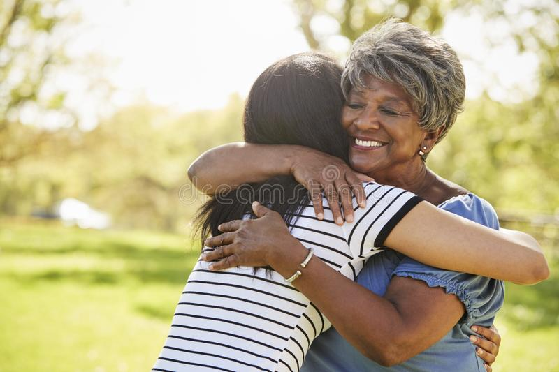 Senior Mother With Adult Daughter Hugging In Park stock images