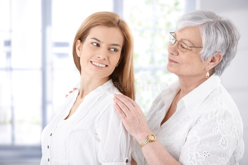 Download Senior Mother And Adult Daughter Smiling Stock Image - Image of happily, happiness: 28432509