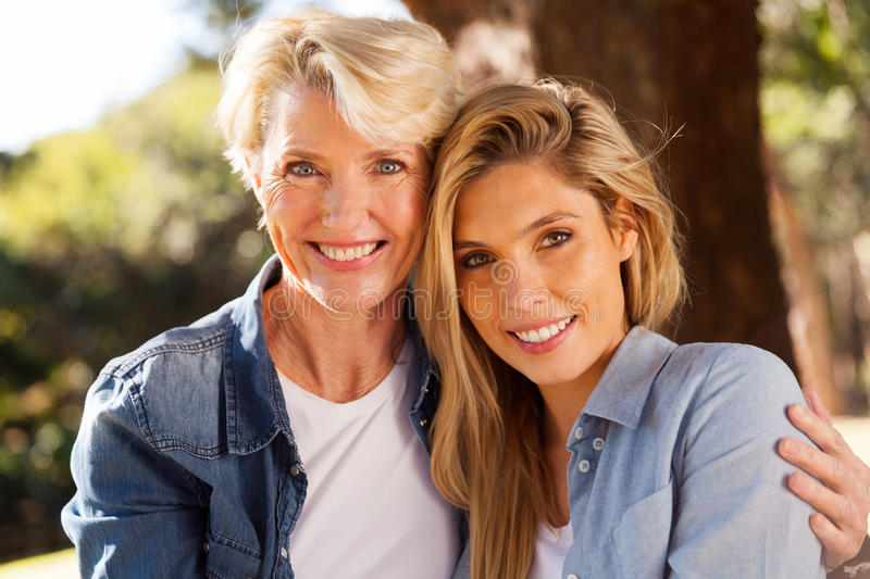 Senior mother daughter royalty free stock photography