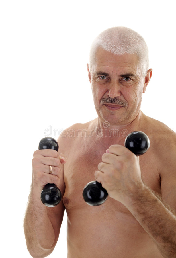Download Senior Naked Man With Dumb-bells Stock Image - Image: 5827639