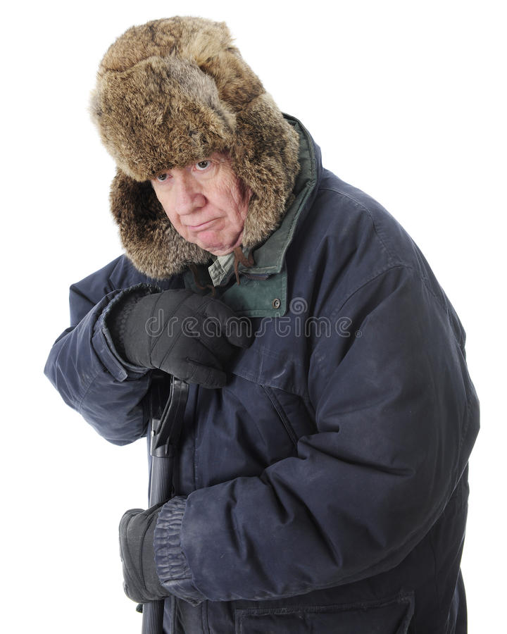 Senior Nienawidzi śnieg zdjęcie royalty free