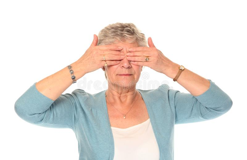 Download Senior Older Woman Covering Eyes Stock Image - Image of blind, mature: 14197961