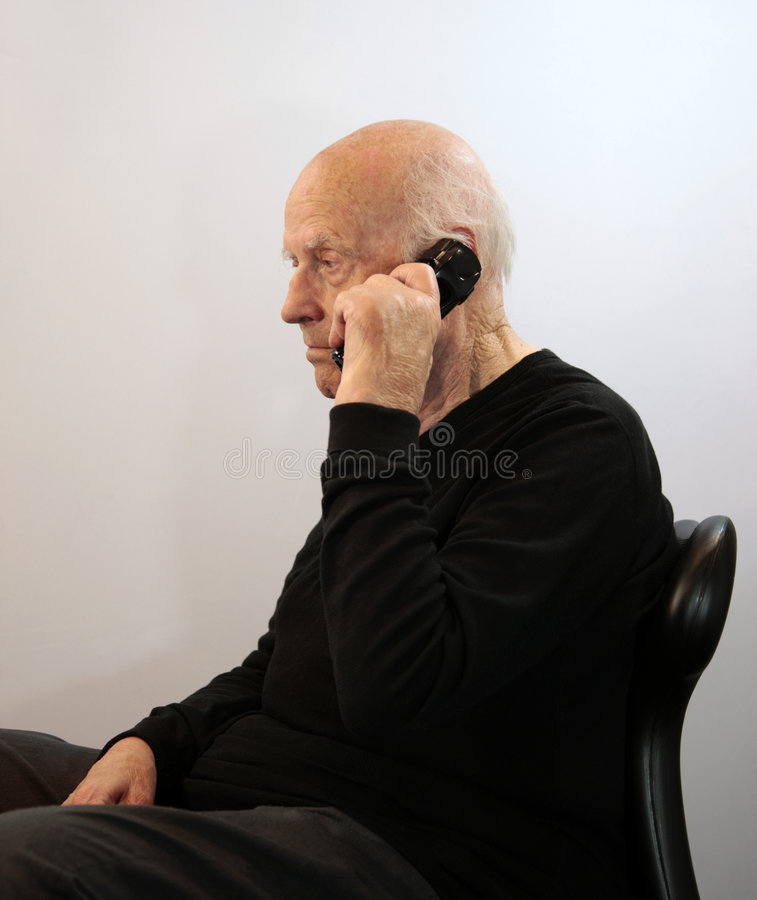 Free Senior On Cordless Phone Stock Photo - 8976410
